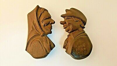 Vintage Black Forest Carved Wood Man Woman Figural Brooch Pin