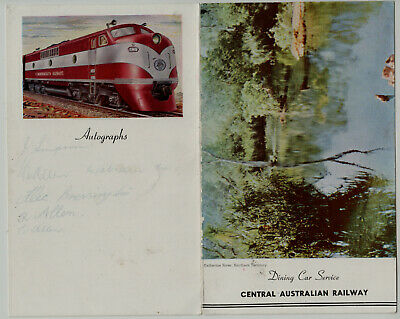 s1654)  VINTAGE CENTRAL AUSTRALIA RAILWAY DINING CAR SERVICE MENU FOR LUNCHEON