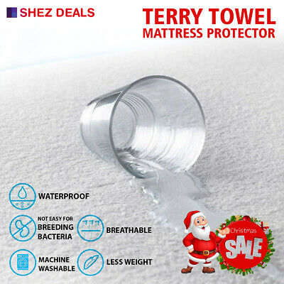 Extra Deep Waterproof Terry Towel Mattress Protector Topper Anti Allergy Cover