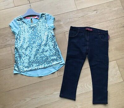 TED BAKER *4-5y GIRLS Designer Sequin  OUTFIT TOP LEGGINGS PARTY AGE 4-5 YEARS