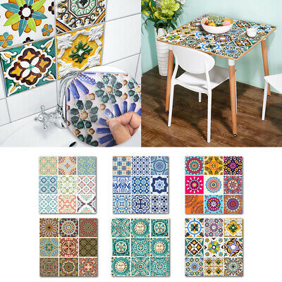 Vintage 10pcs Tile Stickers Self-adhesive Waterproof Moroccan Mosaic Wall Decals