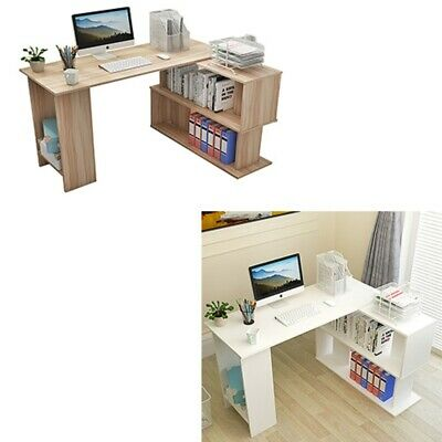 Corner Computer Desk L-Shaped Study Gaming Table With Shelves Home Office White