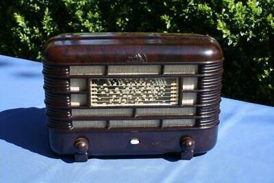 Gorgeous Vintage Mottled Brown Bakelite Hmv Valve Radio