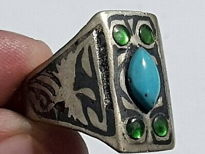Exeptional Rare Late Medieval Silvered Ring Superb Rare Stones 8,9 Gr 20 Mm