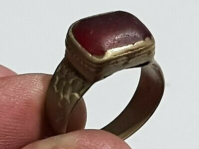 Superb Extremely Rare Ancient Roman Silvered Ring Rare Stone 4,1 Gr 17 Mm