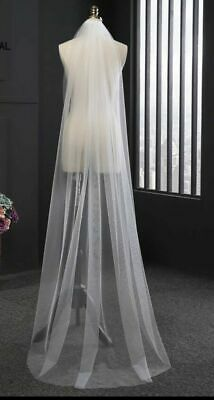 Wedding Bridal veil Ivory Chapel Length Veil 1Tier Soft Tulle Cut Edge With Comb
