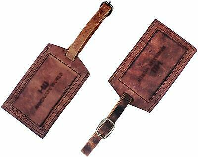 2 Pcs Luggage Tags Leather Baggage Tags Id Labels Fit For Suitcases Backpacks