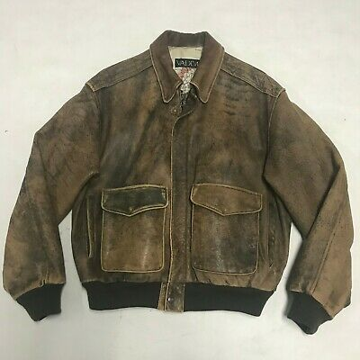 Vintage VADIM Leather Brown Button Bomber Style 1980s Jacket Distressed