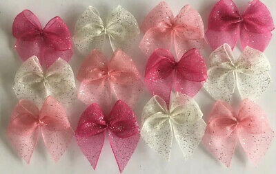 GlitterRibbonBows Bundle Cardmaking/Scrapbooking Ivory/Pinks Lot 29 BUY2GET1FREE