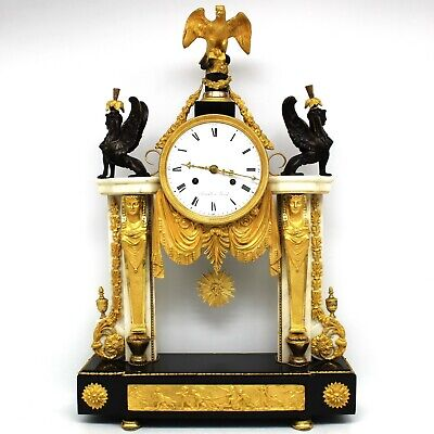 Antique Louis XVI Pendulum mantel Clock ormolu (H.61) in Bronze and Marble- 18th