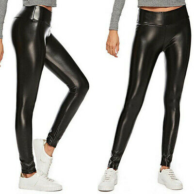 Damen Hohe Taille Leggins Matt Leder Optik Leggings Dick Gefuttert Thermo Hose