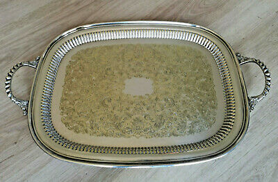 LARGE Silver Plated Chased TWO HANDLED BUTLERS DRINKS Tea Tray SHEFFIELD  54 CM