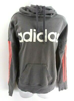 ADIDAS Womens Hoodie Jumper 4/6 XS Grey Cotton & Polyester