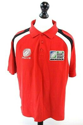 FRANCE RUGBY WORLD CUP 2007 Mens Rugby Polo Shirt L Large Red Cotton