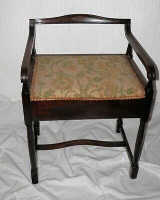 Edwardian Style Piano Music Stool with Under Pad Seat Music Sheet Store 1950s