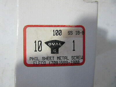 "(100) 10 X 1"" 18-8 Stainless Phillips Oval Head Sheet Metal Screws NEW!!! in Box"
