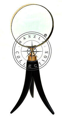 """Nautical Brass 10"""" Magnifying Glass Horn Handle Collectible Desktop Instruments"""