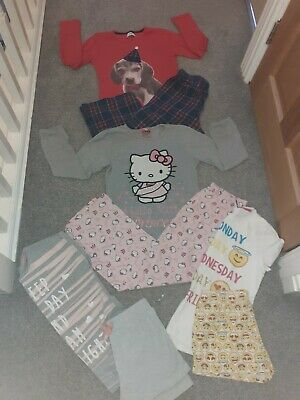 Next Girls Age 8 9 Years hello kitty emoji Pjs Pyjamas bundle x 4 Sets