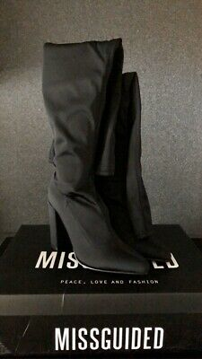 Grey Pointed Neoprene Over The Knee Boots