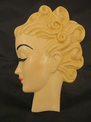 Art Deco Style Wall Mask, Head, Plaque, Hand Painted 'Margot'