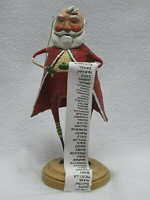 "2006 Lori Mitchell Christmas Folk Art Figure 10609 Santa's List 9 1/2"" h NOS HTF"