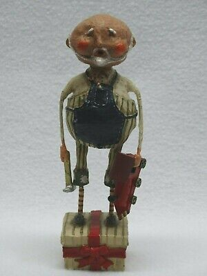 94100 Lori Mitchell ESC Folk Art Christmas Figure Workshop Santa w/ Toy Engine