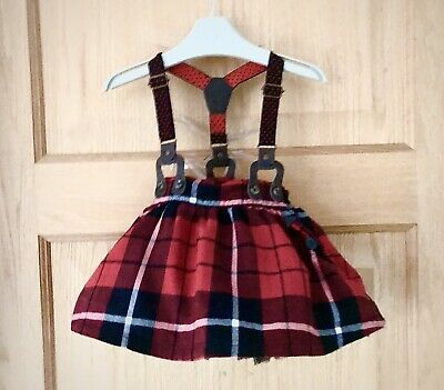 NEXT *3-6m BABY GIRLS RED TARTAN XMAS BRACES SKIRT PARTY OUTFIT  3-6 MONTHS