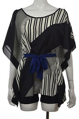 Arden B Womens Top Size S Black Off White Striped Blouse Shirt Short Sleeve