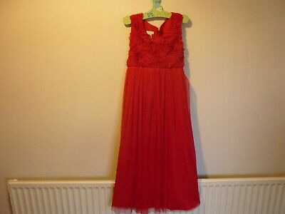 monsoon red occasional dress age 11-12 100% polyester worn once VGC