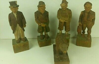"5 Vintage Hand Carved German Black Forest Wood Figurines Made In Germany 8"" Tall"