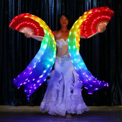 2X Women 100% Silk Colorful LED Glowing Belly Dance Fan Veils w/ USB Charger