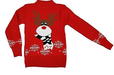 New Girls Boys Christmas Reindeer Snowflake Knitted Kids Xmas Jumper Sweater Top