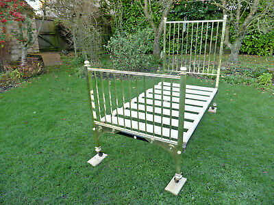 Victorian/Edwardian Solid Brass Single Bed On Original Casters