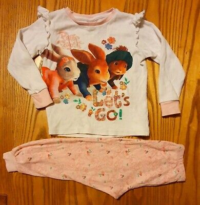 Peter Rabbit Girls Pyjamas 2-3years Long Sleeve. Long Leg. Pink. Cotton