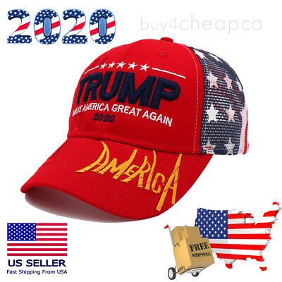 Trump 2020 MAGA Hat Make America Great Again Mesh Red Embroidered Cap US