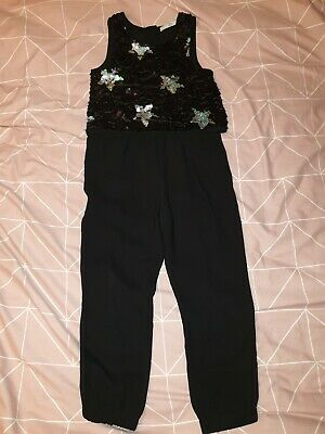 Girls Christmas Party Outfit Jumpsuit Sequin Stars Marks & Spencer - Age 6-7