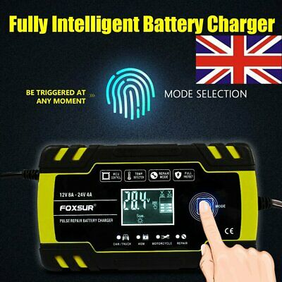 Motorcycle Motorbike Battery Charger Pulse Repair Starter Smart Trickle 12V/24V
