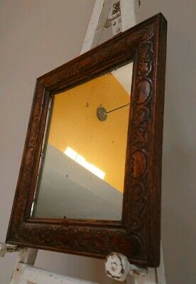 Beautiful Antique Victorian wooden old wall mirror rustic farmhouse silvering