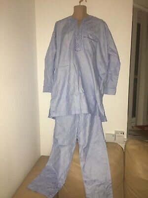 Men African Nigerian native blue outfit top & trousers size L XL