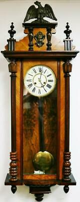 Antique German Junghans 8 Day Spring Driven Striking Mahogany Vienna Wall Clock