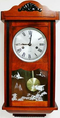 Small Vintage English 15 Day Mahogany & Decorated Glass Gong Striking Wall Clock