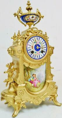 Stunning Antique French 8Day Striking Gilt Metal & Sevres Porcelain Mantel Clock