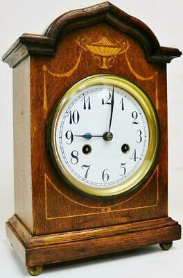 Antique Junghans 8 Day Striking Oak Carved Top & Inlaid Marquetry Mantel Clock