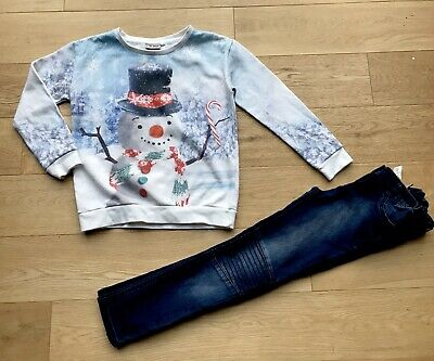 NEXT *9y GIRLS SNOWMAN XMAS OUTFIT TOP JEANS AGE 9 YEARS