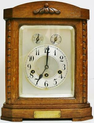 Superb Antique Junghans 8 Day Carved Oak Musical Westminster Chime Bracket Clock