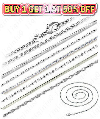 925 Sterling Silver Diamond Cut Rope Snake Rolo Link Chain Necklace 16-24 inch