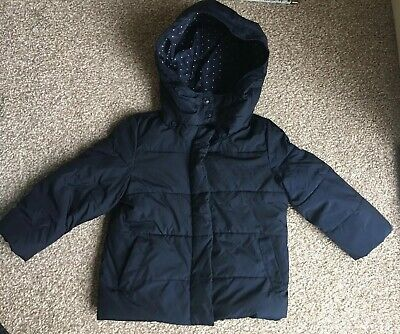 Gap Girls Navy Quilted Hooded Jacket Age 3 Years