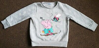 F&F Girls Peppa Pig jumper with snowflakes Pepper & Suzy Sheep Ski Star age 4-5