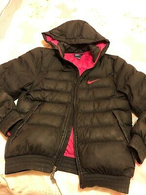 Girls junior Nike Puffer Coat Jacket Black Pink size Medium age 8-9 years