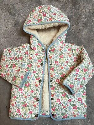 Boden Girls Age 2-3 Padded Floral Coat Jacket Fur Lined Mini Baby Hood Winter